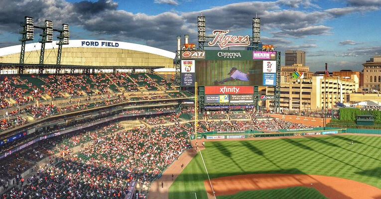 Comerica Park and Ford Field Night